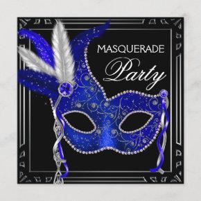 Royal Navy Blue Mask Masquerade Party Invitation