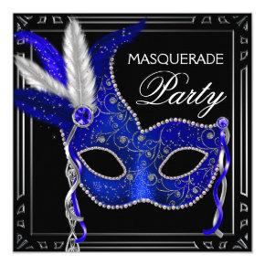 Royal Navy Blue Mask Masquerade Party Invitations