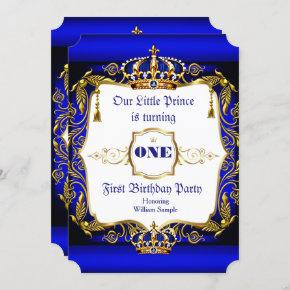 Royal Prince 1st Birthday party Blue Gold Crown Invitation