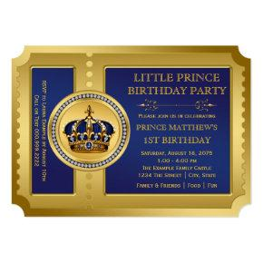 Royal Prince Birthday Party Invitations