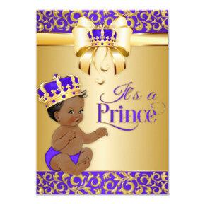 Royal Purple & Gold African American Prince Crown Invitations