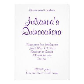 Royal Purple Quinceañera Calligraphy Birthday Invitation