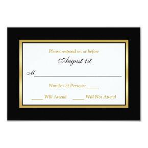 RSVP Card | Black and White | Gold