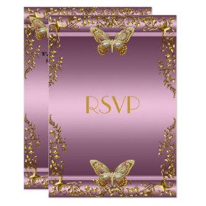 RSVP Elegant Birthday Pink Gold Butterfly Invitations