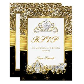 RSVP Magical Quinceanera Gold Black Horse Carriage Card