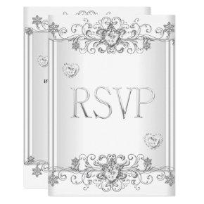 RSVP Silver White Diamond Hearts 2 Invitation