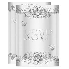 RSVP Silver White Diamond Hearts Invitation