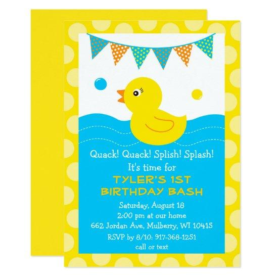 Rubber ducky 1st birthday invitations candied clouds rubber ducky 1st birthday invitations filmwisefo