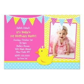 Ducky birthday invitations candied clouds rubber ducky duck photo birthday party invitations filmwisefo