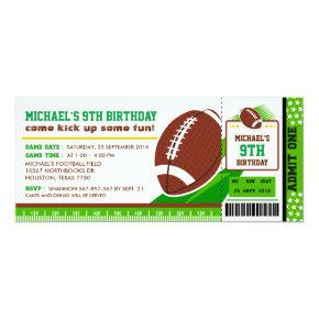 Rugby Football Ticket Pass Birthday Invitation