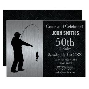 Rugged Adult Fishing Birthday Invitations