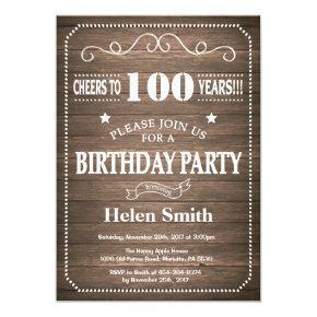 Rustic 100th Birthday Invitation Vintage Retro