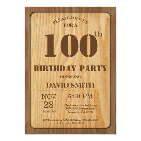 Rustic 100th Birthday Invitation Vintage Wood