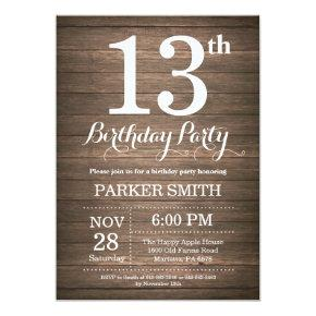 Rustic 13th Birthday Invitation