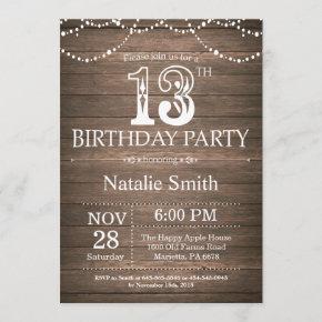 Rustic 13th Birthday Invitation String Lights