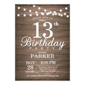 Rustic 13th Birthday Invitation String Lights Wood