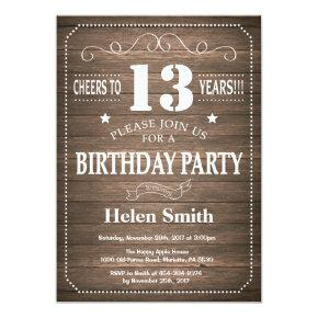 Rustic 13th Birthday Invitation Vintage Retro