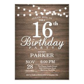 Rustic 16th Birthday Invitations String Lights Wood