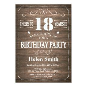 Rustic 18th Birthday Invitations Vintage Retro