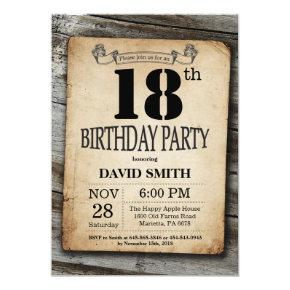 Rustic 18th Birthday Invitations Vintage Wood