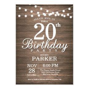 Rustic 20th Birthday Invitation String Lights Wood