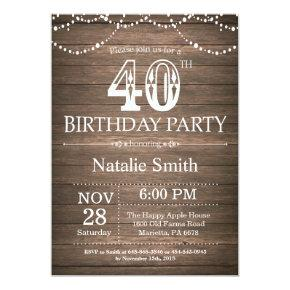 Rustic 40th Birthday Invitation String Lights