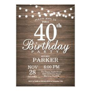 Rustic 40th Birthday Invitations String Lights Wood