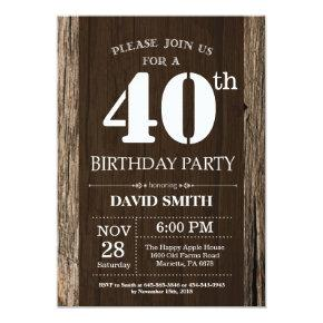 Rustic 40th Birthday Invitation Vintage Wood
