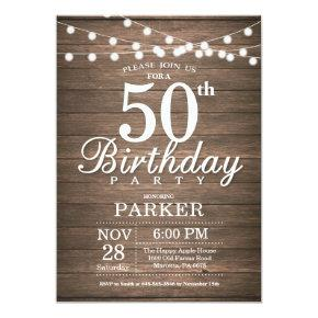 Rustic 50th Birthday Invitations String Lights Wood