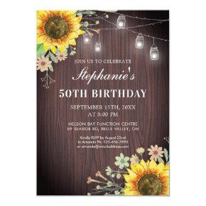 Rustic 50th Birthday Sunflower Wood Jar Lights Invitation