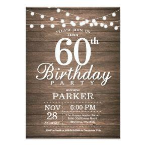 Rustic 60th Birthday Invitations String Lights Wood