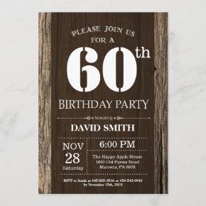 Rustic 60th Birthday Invitation Vintage Wood