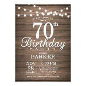 Rustic 70th Birthday Invitations String Lights Wood