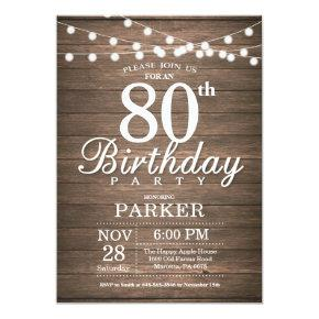Rustic 80th Birthday Invitations String Lights Wood