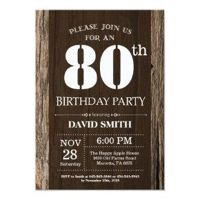Rustic 80th Birthday Invitation Vintage Wood