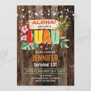 Rustic Aloha Luau birthday party Invitation