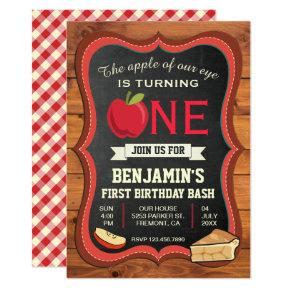 Rustic Barn Wood Apple 1st First Birthday Invite