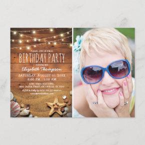 Rustic Beach Nautical Photo Birthday Party Invitation