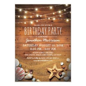 Rustic Beach Tropical Nautical Birthday Party Invitations
