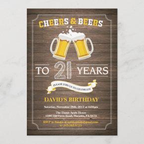 Rustic Beer Surprise 21st Birthday Invitation