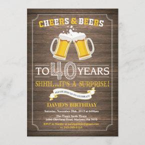Rustic Beer Surprise 40th Birthday Invitation