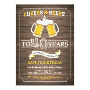 Rustic Beer Surprise 40th Birthday Invitations