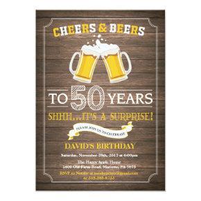 Rustic Beer Surprise 50th Birthday Invitations