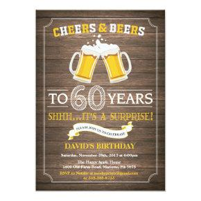 Rustic Beer Surprise 60th Birthday Invitations