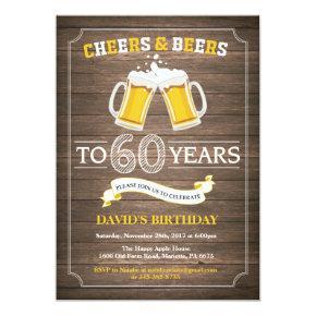 Rustic Beer Surprise 60th Birthday Invitations