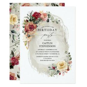 Rustic Bloom Elegant Birthday