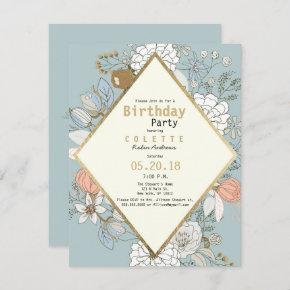 Rustic blue coral faux gold floral Birthday Party Invitation