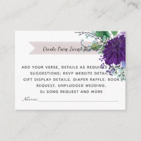 Rustic Blue Flower Wedding Details  - Insert