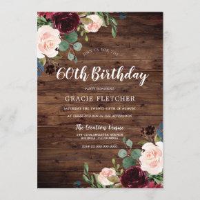 Rustic Blush & Burgundy Flowers 60th Birthday Invitation