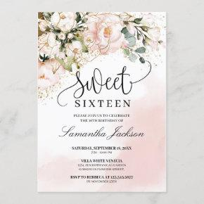 Rustic blush pink floral rose gold sweet sixteen invitation